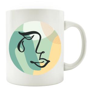 TASSE Kaffeebecher - Gesicht Mid Century D - Lineart Face...