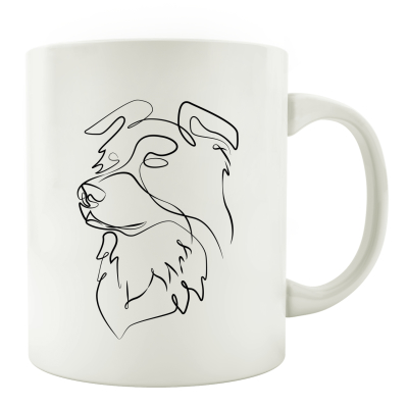 TASSE Kaffeebecher - Hund Line Art D - Hundeliebhaber Geschenk schwarz weiß Haustier