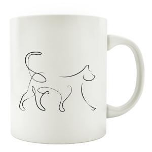 TASSE Kaffeebecher - Katze Line Art B - Katzenliebhaber cat Geschenk schwarz weiß