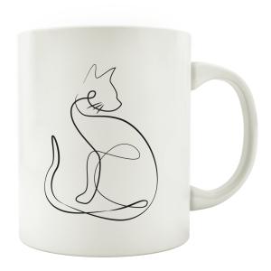 TASSE Kaffeebecher - Katze Line Art C - Katzenliebhaber...