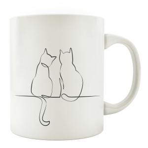 TASSE Kaffeebecher - Katzen Line Art D - Katzenliebhaber...