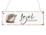 Interluxe Holzschild - Igel Chalet - dekoratives Schild...
