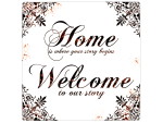 20x20 cm Retro BLECHSCHILD HOME IS WHERE YOUR STORY...