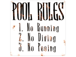 20x20cm Retro METALLSCHILD Blechschild POOL RULES...