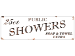 Shabby Blechschild METALLSCHILD Türschild PUBLIC SHOWERS Dekoschild Bad Dusche