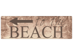 METALLSCHILD Shabby Blechschild TO THE BEACH [BRAUN]...