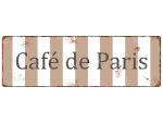 Retro METALLSCHILD Shabby Blechschild CAFE DE PARIS...