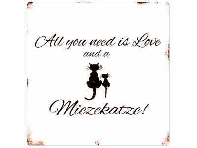 20x20CM METALLSCHILD Dekoschild ALL YOU NEED IS LOVE AND A MIEZEKATZE Geschenk