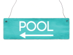 Shabby Vintage Schild Türschild POOL LINKS...