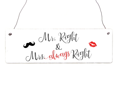 Holzschild Shabby Vintage Türschild MR. RIGHT & MRS. ALWAYS RIGHT Deko Hochzeit