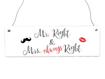 Holzschild Shabby Vintage Türschild MR. RIGHT &...