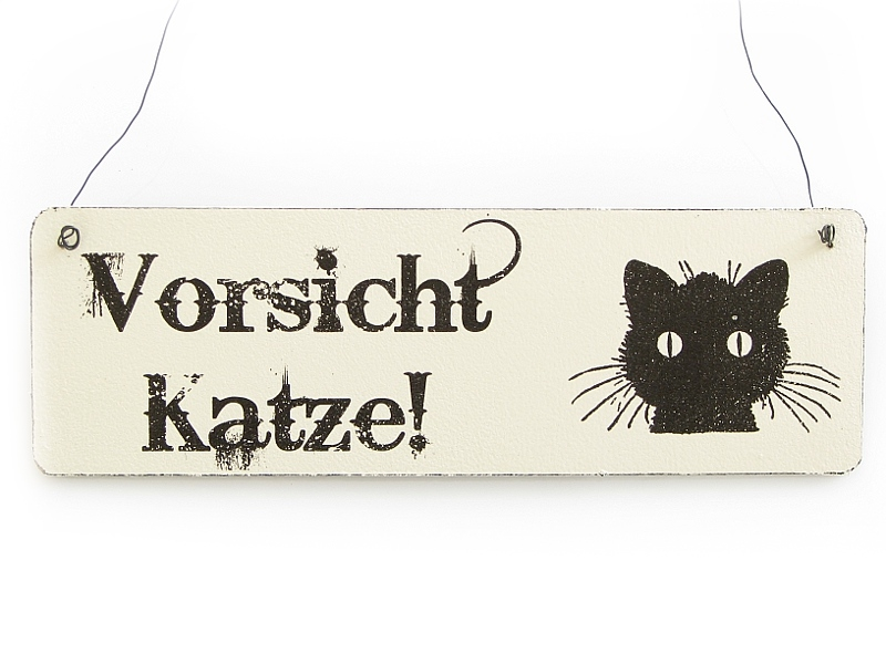 vintage deko schild t rschild vorsicht katze shabby nostalgie la. Black Bedroom Furniture Sets. Home Design Ideas