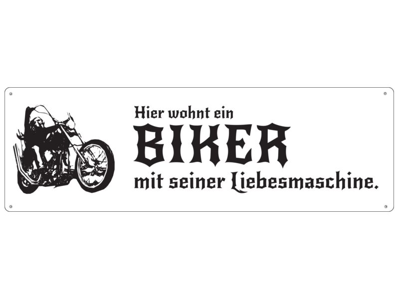 metallschild blechschild haust r hier wohnt ein biker mit. Black Bedroom Furniture Sets. Home Design Ideas