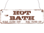Shabby Vintage Holzschild HOT BATH Eingang Bad WC...