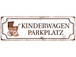 INTERLUXE METALLSCHILD Shabby KINDERWAGENPARKPLATZ...
