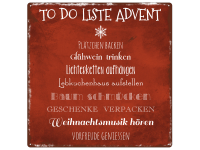 INTERLUXE 20x20cm METALLSCHILD TO-DO LISTE ADVENT Geschenk Dekoration