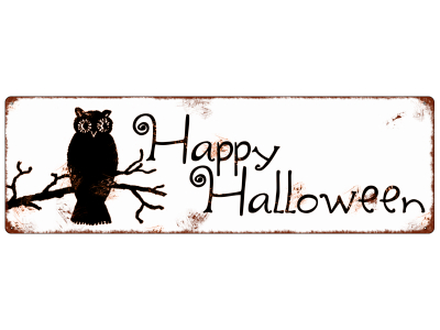 INTERLUXE METALLSCHILD Shabby Blechschild HAPPY HALLOWEEN [*1*EULE] Dekoration