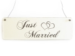 Vintage Deko Schild Türschild JUST MARRIED Shabby...