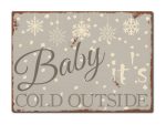 LUXECARDS POSTKARTE aus Holz BABY IT´S COLD OUTSIDE Winter Weihnachten Shabby