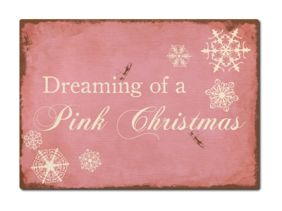 LUXECARDS POSTKARTE aus Holz DREAMING OF A PINK CHRISTMAS Weihnachtskarte