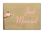 LUXECARDS POSTKARTE Holzpostkarte JUST MARRIED EULEN...