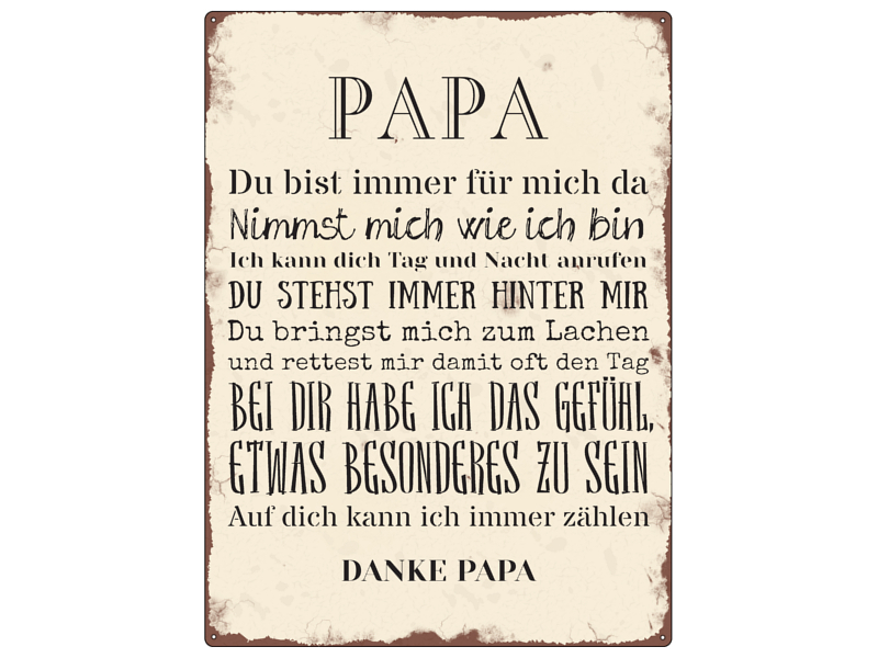 interluxe blechschild shabby wandschild papa deko vatertag. Black Bedroom Furniture Sets. Home Design Ideas