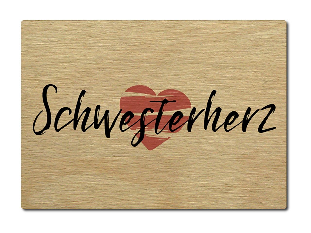 luxecards postkarte aus holz schwesterherz geburtstag geschenk famili. Black Bedroom Furniture Sets. Home Design Ideas