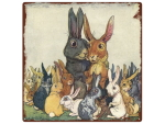 20x20cm INTERLUXE METALLSCHILD Shabby EASTER BUNNY...