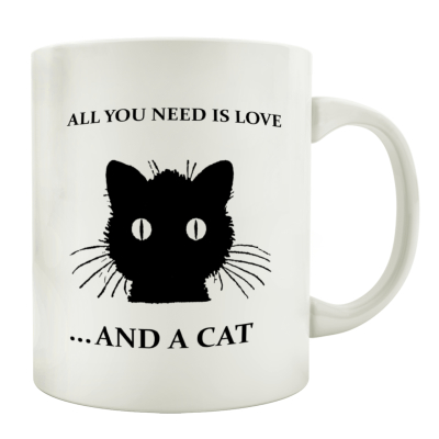 TASSE Kaffeebecher ALL YOU NEED IS LOVE AND A CAT Spruch Katze Geschenk