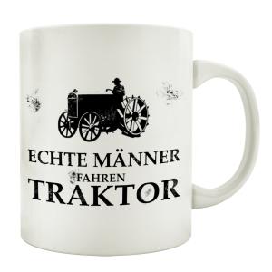 TASSE Kaffeebecher ECHTE MÄNNER FAHREN TRAKTOR Spruch Geschenk Landwirt Hobby