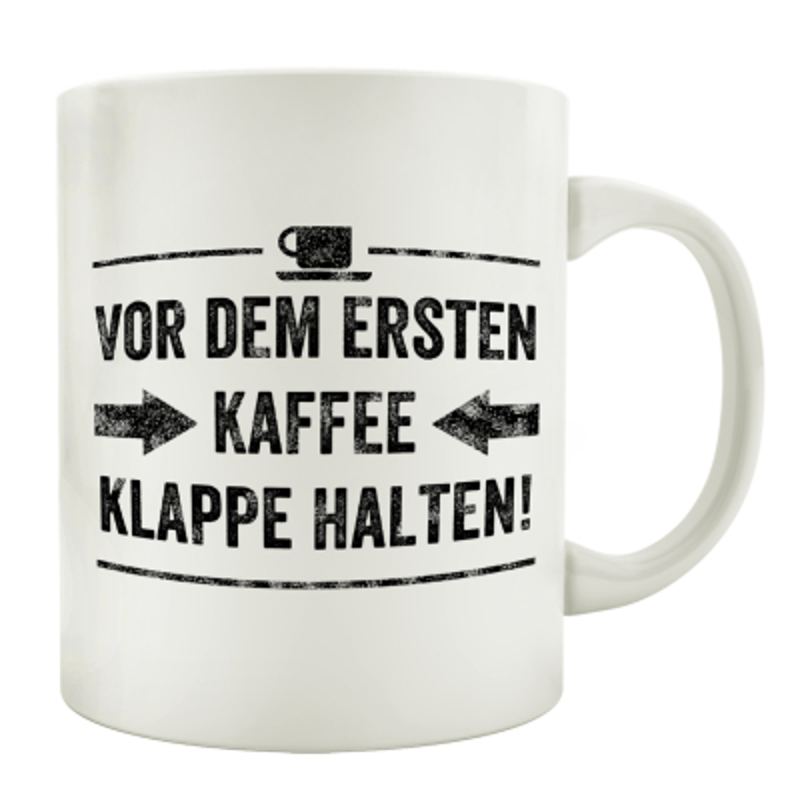 TASSE Kaffeebecher VOR DEM ERSTEN KAFFEE Spruch Geschenk Lustig Shabby