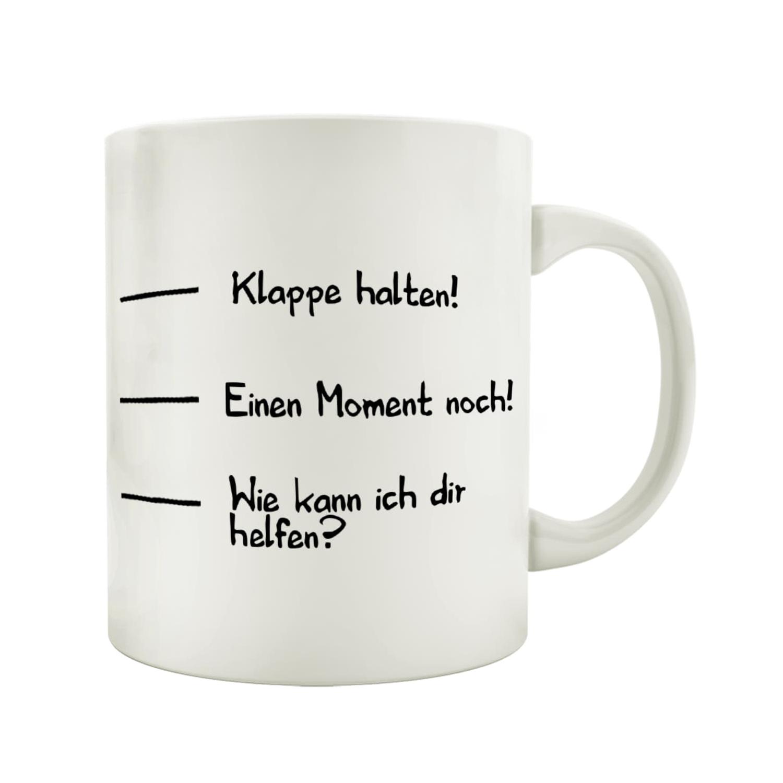 sprüche tassen TASSE Kaffeebecher KLAPPE HALTEN Skala Spruch Lustig Geschenk Shabby, sprüche tassen