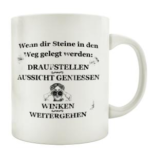 TASSE Kaffeebecher WENN DIR STEINE Motivation Spruch...