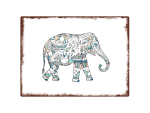 INTERLUXE WANDSCHILD Shabby ELEFANT DOODLE Metall...