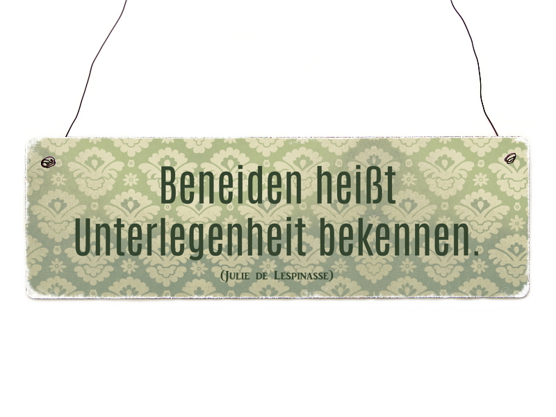 interluxe holzschild beneiden heisst spruch shabby vintage geschenk d. Black Bedroom Furniture Sets. Home Design Ideas